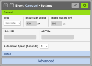 Carousel Block - General Settings