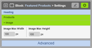 Featured Products Block - Image Settings