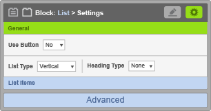 List Block - General Settings