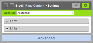 Page Content Block - When On Account