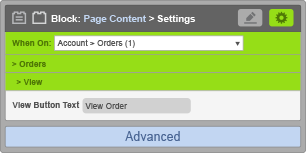 Page Content Block - When On Account Orders - View Settings