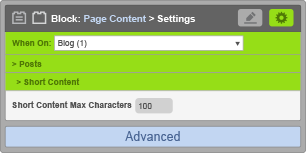 Page Content Block - When On Blog - Short Content Settings