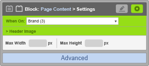 Page Content Block - When On Brand - Header Image Settings