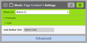 Page Content Block - When On Brand - Cart Settings