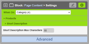 Page Content Block - When On Category - Short Description Settings
