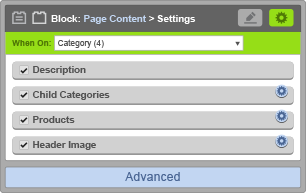 Page Content Block - When On Category
