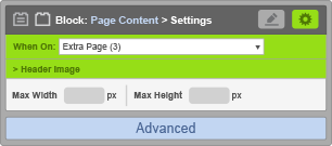 Page Content Block - Header Image Settings