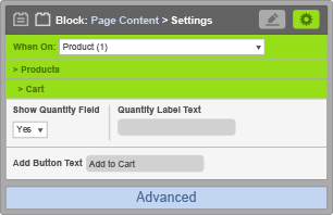Page Content Block - Cart Settings