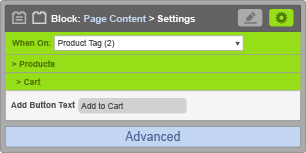 Page Content Block - When On Product Tag - Cart Settings