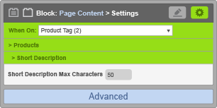 Page Content Block - When On Product Tag - Short Description Settings