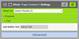 Page Content Block - When On Search Results - Cart Settings