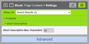 Page Content Block - When On Search Results - Short Description Settings