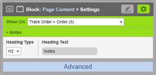 Page Content Block - When on Track Order Order - Notes