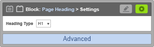 Page Heading Block - Page Heading Settings