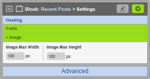 Recent Posts Block - Image Settings